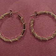 14 KG Hoop Earrings with Unusual Wire Wrap Detail