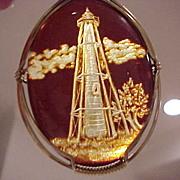 Carved Amber Pendant: Boca Grande Florida Lighthouse