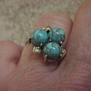 Three-Stone Turquoise Ring - Ladies'  -10KG - Size 6