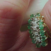 """Ladies Emerald/Diamond Ring- 10KG - Size 7 - sold """"as is"""""""