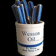 Vintage Wesson Oil Blue Banded Stoneware Crock Beater Jar