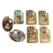SOLD Victorian Artist Palette Die Cut Trade Cards