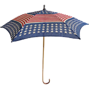SOLD Antique Patriotic American Flag Stars and Stripes Red White Blue Parasol