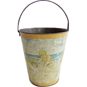 SOLD 1920s Tin Lithographed Sand Pail Kids Playing at Beach Embossed Eagle Ohio Art