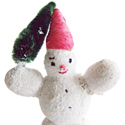 SOLD Vintage Christmas Mica Covered Snowman Chenille Tree
