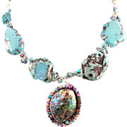 Turquoise, Abalone and Hematite on Sterling Silver Necklace
