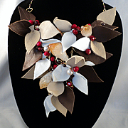Leather w Swarovski Pearls, Red Jade and Garnets on Jeweler's Brass Bib Necklace