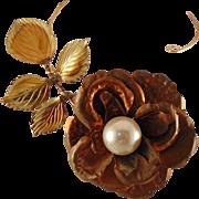 Large Draped Mixed Metal Rose Necklace
