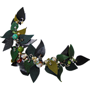 Drape Design Leather Laurel Leaf and Agate on Sterling Silver