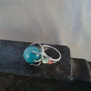 Faceted Aqua Agate on Sterling Silver Ring