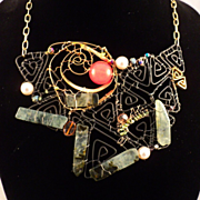 Mixed Metal Necklace w Prasiolite, Rose Quarts, Peridot and Pyrite