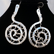 Sculpted Aluminum and Sterling Silver Earrings