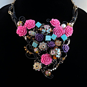 Roses on Annealed Steel and Jeweler's Brass Choker