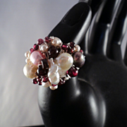 Sculpted Sterling Silver Ring w Garnets and Cultured Freshwater Pearls