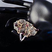 Fools Gold and Garnets on 14KGF and Sterling Silver Ring