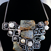 Prasiolite, Garnet Amazonite and Quartz on Sterling Silver Filled Necklace