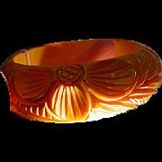 Hefty Vintage Carved Yellow Bakelite Bangle