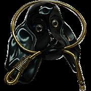 Vintage Black Bakelite Hound Dog w/ Leash