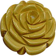 Assembled Vintage Sterling and Bakelite Carved Yellow Rose Rhinestone Ring