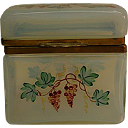 REDUCED Antique French Hand Painted Ormolu Opaline Crystal Hinged Box