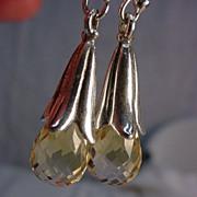 Sterling Silver Squash Blossom Citrine Pierced Earring
