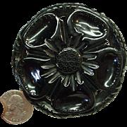 Vintage Carved Pierced Hefty Black Bakelite Flower Pin