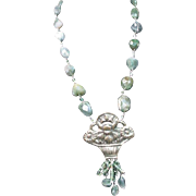Antique China Flower Pendant, Moss Agate Sterling Wire Wrapped Bead Necklace