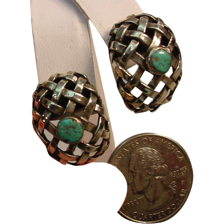 Vintage Sterling Basket Weave Turquoise Pierced Earrings
