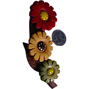 Vintage Carved Wood Czech Flower PIn