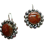 Sterling Fossilized Coral Cluster Earrings w/ dyed Freshwater Pearls