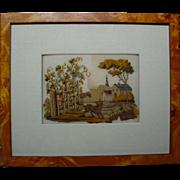 Antique Hound Dog Needlework Woolwork
