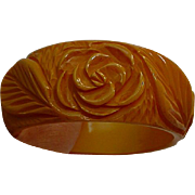 Hefty Vintage Carved Yellow Rose Flower Bakelite Bangle