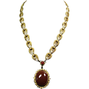 1930s Gold over Brass Necklace with Faux Carnelian Drop