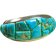 Morenci Turquoise Stone on Stone CobbleStone  Sterling Silver Cuff Bracelet