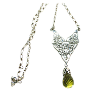 Celtic Design Sterling Silver Necklace with Large Lemon Quartz Drop