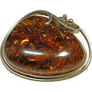 Sterling Silver Baltic Amber Pendant/Broach