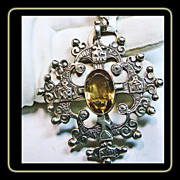 Silver Maltese Style Cross with Citrine in Center