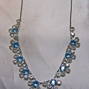 1930s Blue and White Glass Crystal Choker Style Necklace
