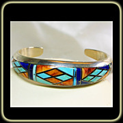 SOLD Sterling Silver Cuff Bracelet with Inlay of Lapis, Turquoise,Spiny and Onyx