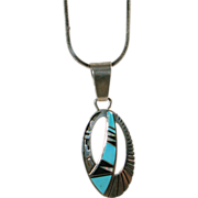 Navajo Sterling Silver Pendant with Turquoise Inlay on STerling Chain