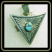 Double Sided Triangular Shape Pendant with Inlay and Silver Overlay Decoration