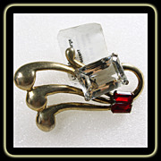 1940s Sterling Silver with Gold Wash Broach with Red and Clear Paste Stones