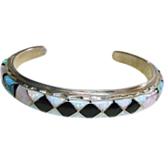 Sterling Silver Bracelet with Unusual Opal, MOP and Onyx Inlay