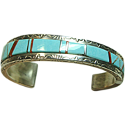 Steve Francisco Sterling Cuff Bracelet with Turquoise and Coral Inlay