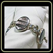 SALE Hawk's Eye and White Topaz Sterling Silver Bracelet