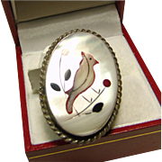 Sterling Silver Ring with MOP Inlay of Robin and Flowers