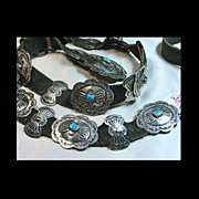 SOLD Southwestern Sterling Silver and Turquoise Concho Belt