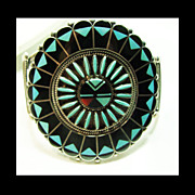 Zuni Sterling Sunface Inlay Cuff Bracelet by Shirley & Benjamin Tzunie
