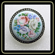 Victorian Enamel on Metal Floral Brooch