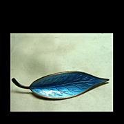Sterling Leaf Brooch with Sky Blue Guilloche Enamel by Meka